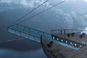 В Норвегии на вершине скалы возведут уникальный отель с прозрачным бассейном